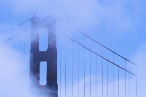 Golden Gate Bridge Behind Clouds